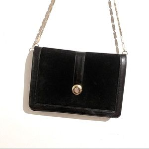 Black Suede Envelope Clutch Purse with Gold Chain
